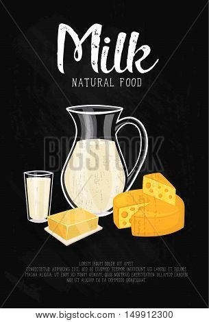 Glass jug with milk, cheese wheel and butter isolated on black background. Milk natural food banner. Nutritious and healthy products. Organic farmers food. Organic food and dairy product concept. Milk product icon. Cartoon dairy product. Dairy icon.