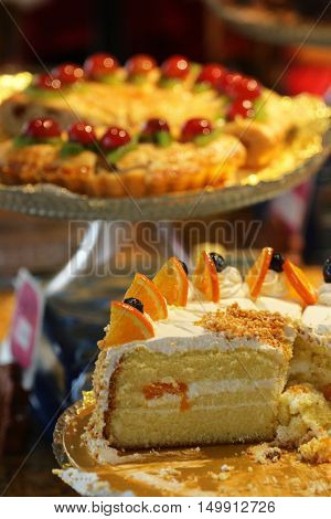 Cake With Fresh Fruits ..