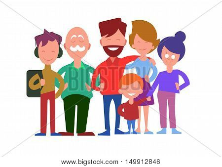 Family generations. Smiling father, mother, daughter, son, grandfather and grandmother standing in line iIsolated on white background vector illustration. Closest relatives. For family values concept