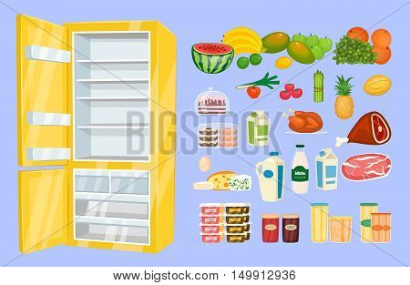 Space organization in freezer. Variety daily products with opened fridge vector illustration isolated. Saving freshness of nutrients. Weekly supply. Fridge with food icon. Cartoon vector fridge isolated. Open fridge with healthy food icons. Fridge icon.
