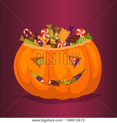Halloween pumpkin full of candy treats. Cartoon pumpkin. Symbol of halloween design concept. Halloween vector elements. Beggars Night october holiday. All Hallows Evening. Halloween concept. Funny scary halloween pumpkin.