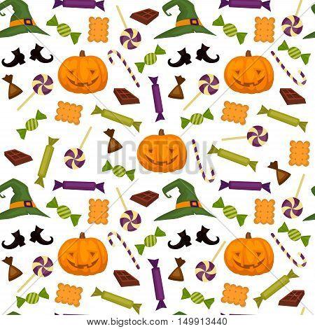 Halloween vector pattern. Background of halloween elements. Pumpkin, treats, magic hand vector illustration. Halloween background.