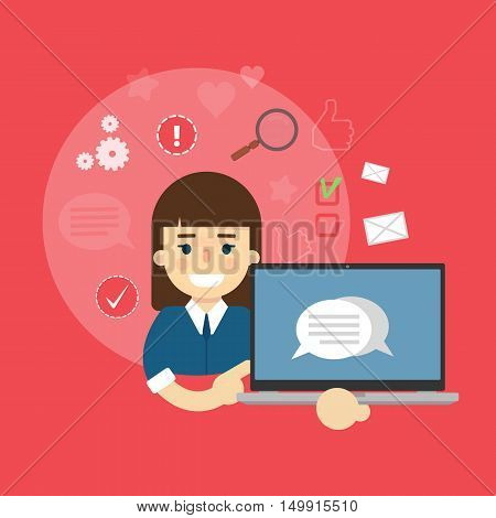 Shopping advertising in social media. Online sale technology. Seller with gadget. Social media network people. Cartoon seller vector. Online shopping or online marketing concept. Ecommerce. Online seller. Online shopping flat vector. Sale banner. Seller.