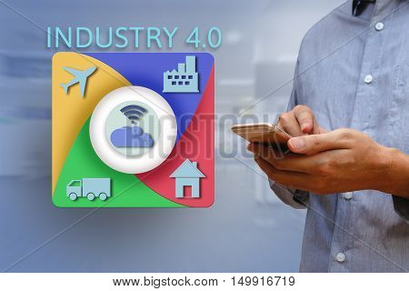 Businessman using smartphone for working industry with internet of things virtual icons concept and factory background Business industry 4.0 concept.