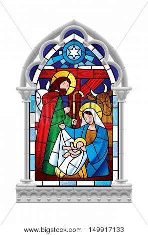 Stained glass window depicting Christmas scene in gray gothic frame isolated on white background. Artistic Xmas symbol. Vector illustration
