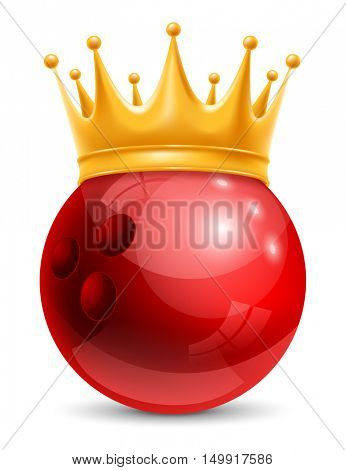 Bowling Ball in Golden Royal Crown. Concept of success in bowling sport. Bowling - king of sport. Realistic Stock Vector Illustration. Isolated on White Background.