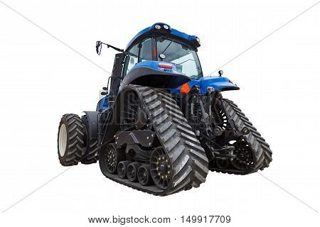 Tractor isolated on white background, agricultural machinery, tractor crawler