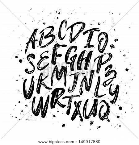 Vector alphabet. Hand drawn letters. Letters of the alphabet written with a brush. Black letters on a white background. Brush painted letters.