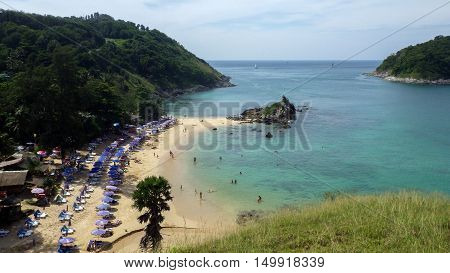 a view of Yanui Beach and Koh Kaeo Noi on Phuket island Andaman Sea in South of Thailand.