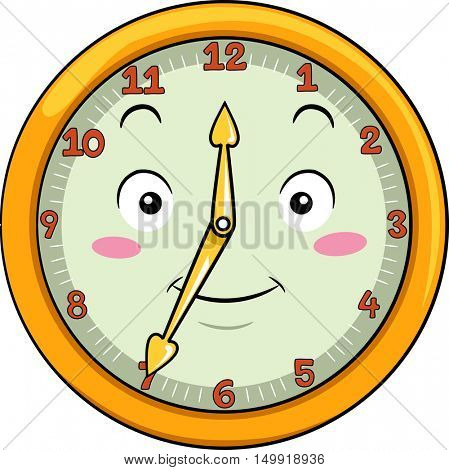 Mascot Illustration of a Smiling Clock with its Hands Pointing to the Numbers Twelve and Seven