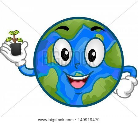 Illustration of an Earth Mascot Featuring a Smiling Globe Holding a Seedling