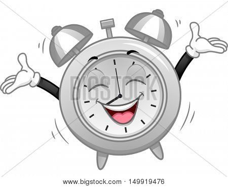 Mascot Illustration of a Happy Analog Alarm Clock Welcoming the Morning