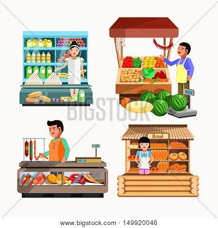 Set of sellers at the counter and stall. Collection vector shops in flat style. Kiosk with vegetables, bread, meat and milk products. Grocery stores illustration
