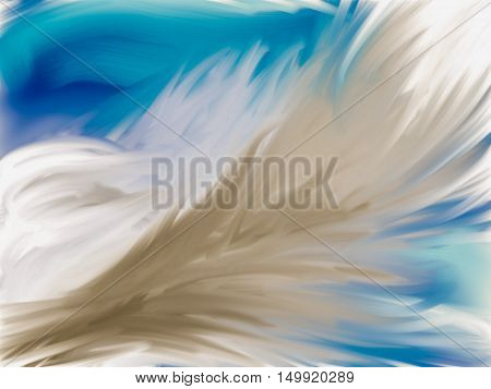 Feathery clouds shaped like a wing detailed with colors and lights and dark details