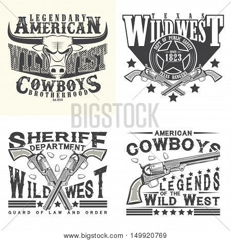 Set of Vintage typography, Wild West t-shirt graphics,  apparel stamps, tee print designs, vintage cowboy and sheriff and rangers emblems, vector