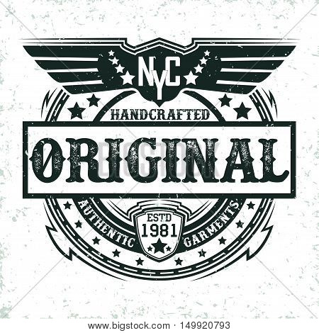 vintage label of  handcrafted garments, Tee shirt print design, vector
