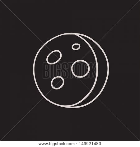 Moon surface with cheese holes vector sketch icon isolated on background. Hand drawn Moon surface with cheese holes icon. Moon surface with cheese holes sketch icon for infographic, website or app.