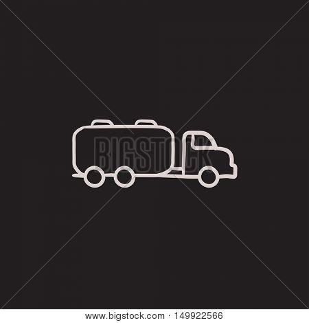 Truck liquid cargo vector sketch icon isolated on background. Hand drawn Truck liquid cargo icon. Truck liquid cargo sketch icon for infographic, website or app.