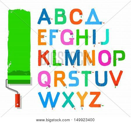 Font paint roller, English capital letters, colored. Vector letters written with a paint roller and paint on a white background. Simulated texture.
