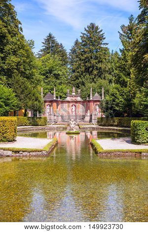 Beautiful Fountain Hellbrunn, Salzburg, Austria.  Vertical composition