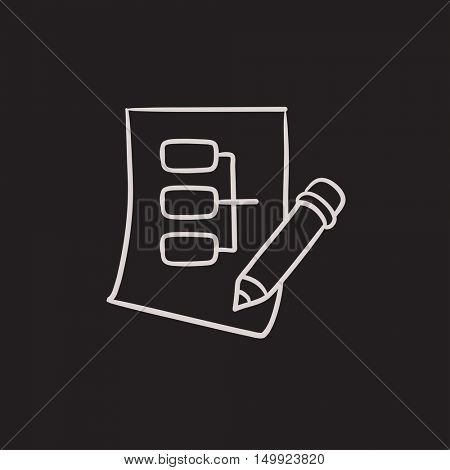 Paper sheet with system parts vector sketch icon isolated on background. Hand drawn Paper sheet with system parts icon. Paper sheet with system parts sketch icon for infographic, website or app.