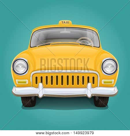 Retro yellow taxi. Front view. Illustration of the vintage car. The beautiful details. Good varnish covering.