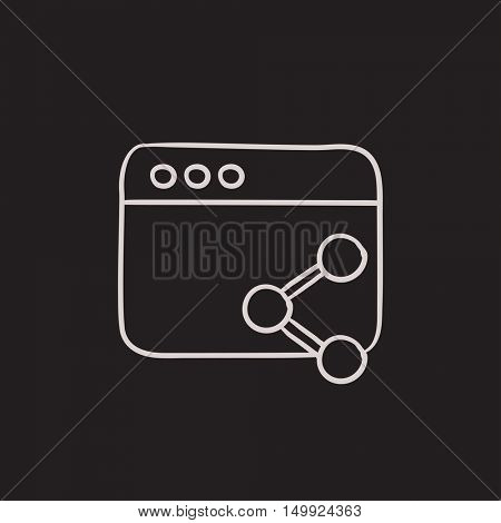 Browser window with share symbol vector sketch icon isolated on background. Hand drawn Browser window with share symbol icon. Browser window sketch icon for infographic, website or app.
