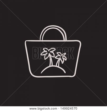 Beach bag  vector sketch icon isolated on background. Hand drawn Beach bag  icon. Beach bag  sketch icon for infographic, website or app.