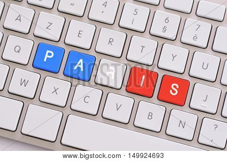 Paris in blue white and red on white keyboard