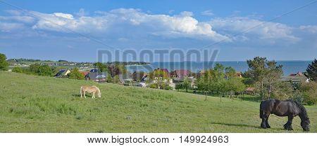 Village of Klein Zicker at Moenchgut Biosphere Reserve on Ruegen Island,baltic Sea,Mecklenburg western Pomerania,Germany