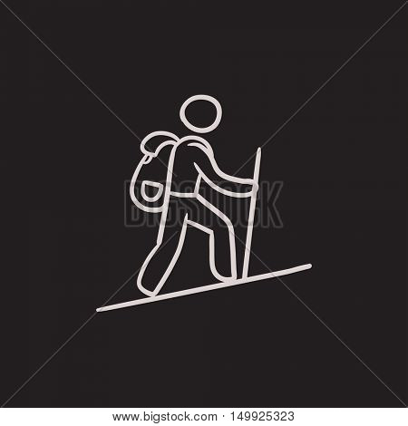 Tourist backpacker vector sketch icon isolated on background. Hand drawn Tourist backpacker icon. Tourist backpacker sketch icon for infographic, website or app.