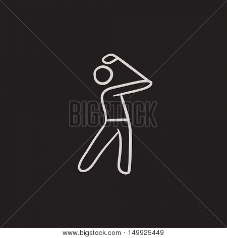 Golfer vector sketch icon isolated on background. Hand drawn Golfer icon. Golfer sketch icon for infographic, website or app.