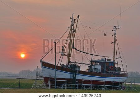 Crab Fishing Trawler in Harbor of Greetsiel at North Sea,East Frisia,Germany