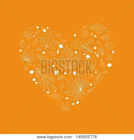 Autumn leaves heart design white outline on yellow background