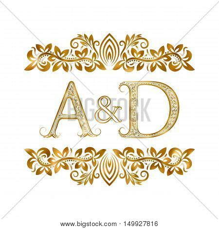 A&D vintage initials logo symbol. Letters A D ampersand surrounded floral ornament. Wedding or business partners initials monogram in royal style.
