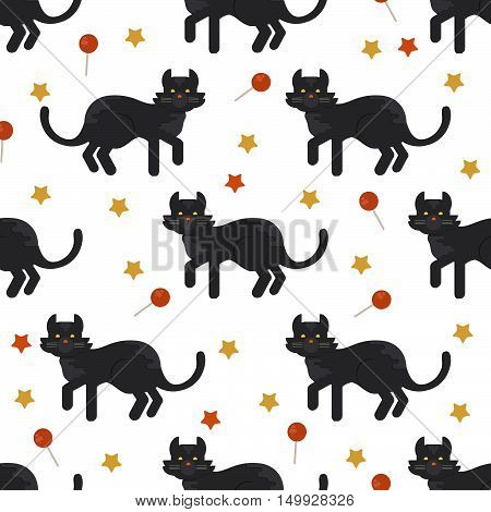 Halloween black cat seamles pattern. Halloween background for shops wrapper gift wrap textile party banners and wallpaper.