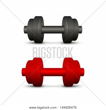 Black and red dumbbells. Set on a white background. EPS-10. Mesh gradient (shadow) and transparency was used.
