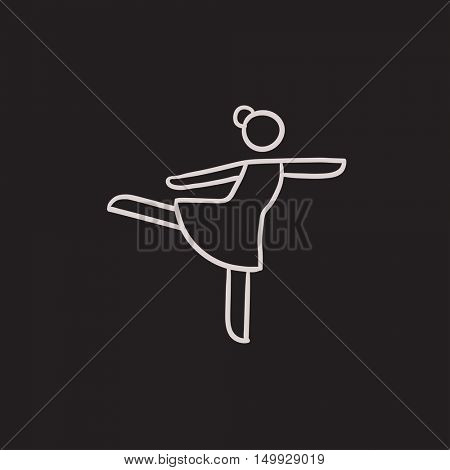 Female figure skater vector sketch icon isolated on background. Hand drawn Female figure skater icon. Female figure skater sketch icon for infographic, website or app.