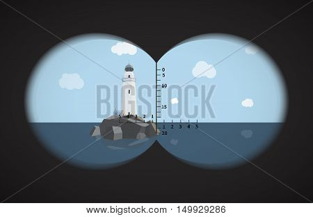 View from the binoculars with metrics on lighthouse on rocks in the sea