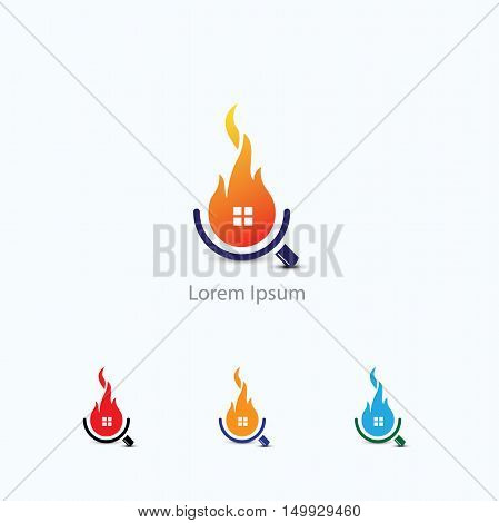 Home Inspection Logo Template, Security and protection of home from fire