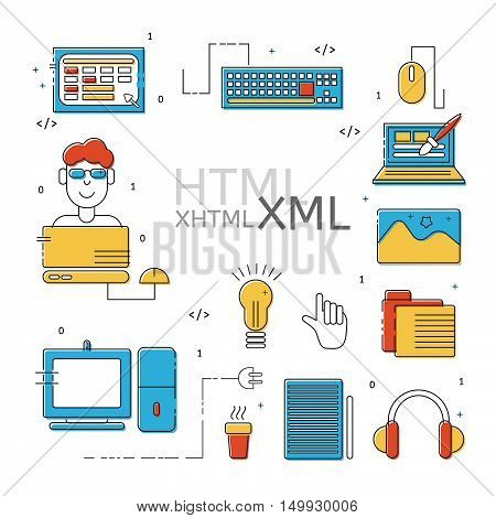 HTML coder icons set. Colorful HTML line icons. Vector illustrations for business corporate design computer store.