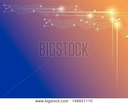 Abstract  Technology Blue And Orange Vector Background