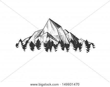 Mountains engraving vector illustration. Rock drawing design element. Scratch board style imitation. Hand drawn image.