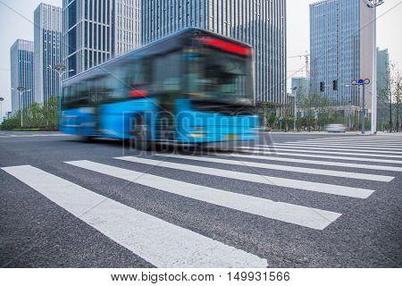 public bus moving on road,shanghai,china.