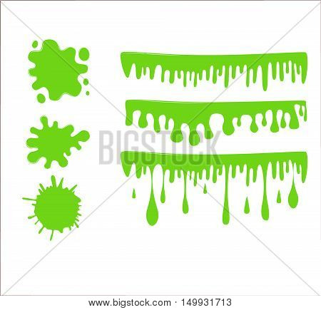 Green Slime Vector Set On Checkered Transparent Background. Paint Drop Abstract .