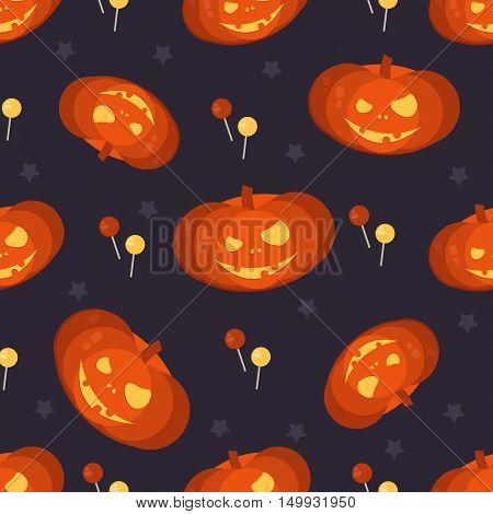 Halloween pumpkin head seamless pattern. Halloween background for shops wrapper gift wrap textile party banners and wallpaper.