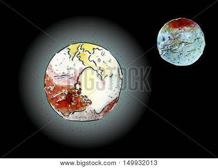 Hand drawn color mixed media sketch of a Charon and Pluto planet with atmosphere and its satellite illustration on black background