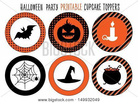 Printable set for Halloween party. Handmade. Cupcake wrappers printable., vector