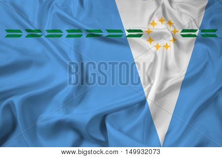 Waving Flag of Formosa Province Argentina, with beautiful satin background. 3D illustration