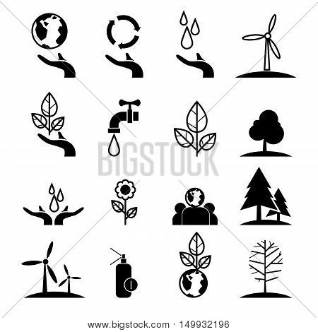 save energy and environment concept icons set green concept globe with hand represent enery saving and love the earth illustration concept